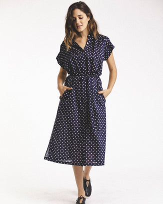 Trovata Clothing Astrid Easy Dress in Navy Dot