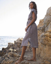 Trovata Clothing Astrid Easy Dress in Navy Gingham
