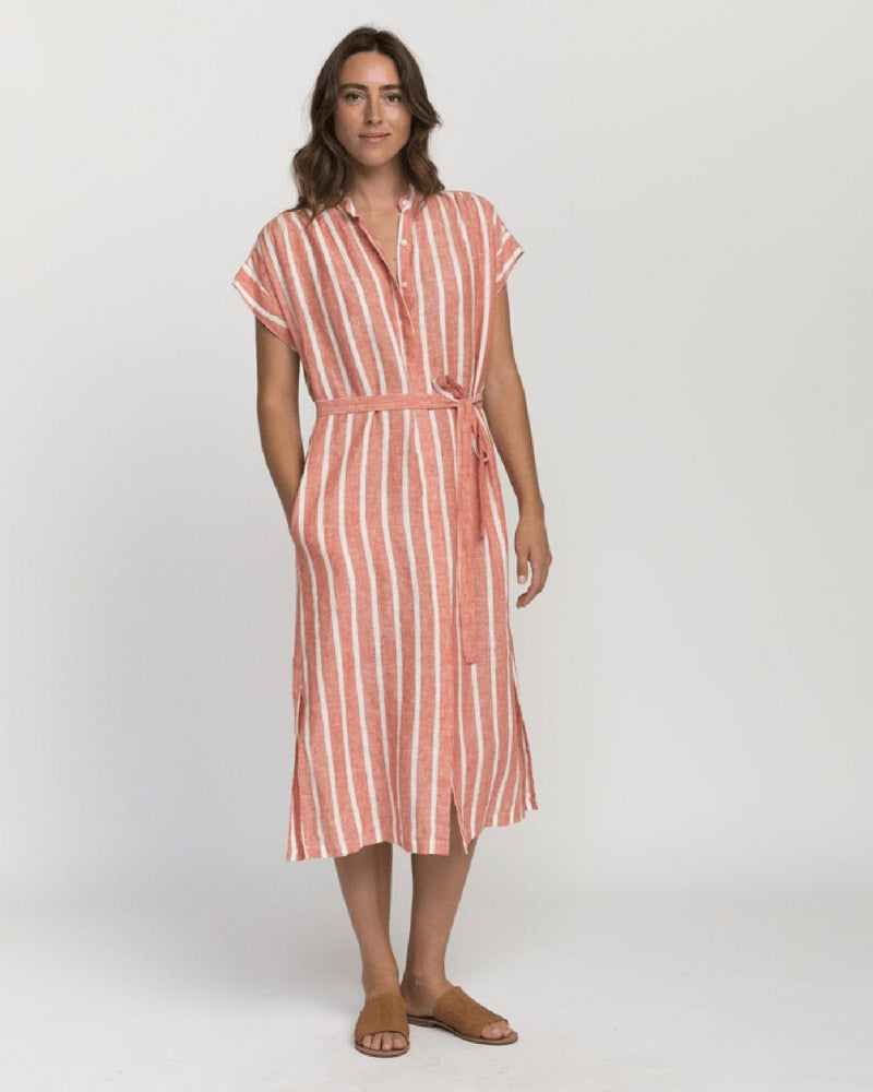 Trovata Clothing Astrid Easy Dress in Tomato Stripe