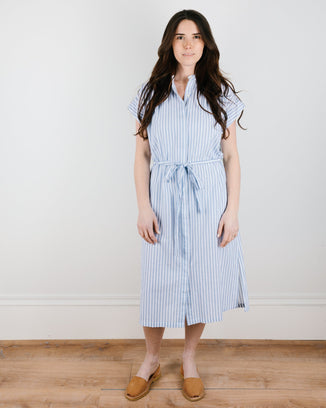 Trovata Birds of Paradis Clothing Astrid Easy Dress in White & Blue Stripe