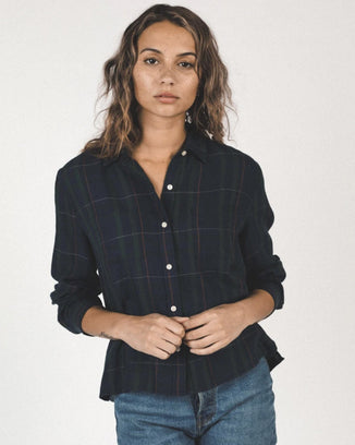 Trovata Birds of Paradis Clothing Beth Shirt in Blackwatch Plaid