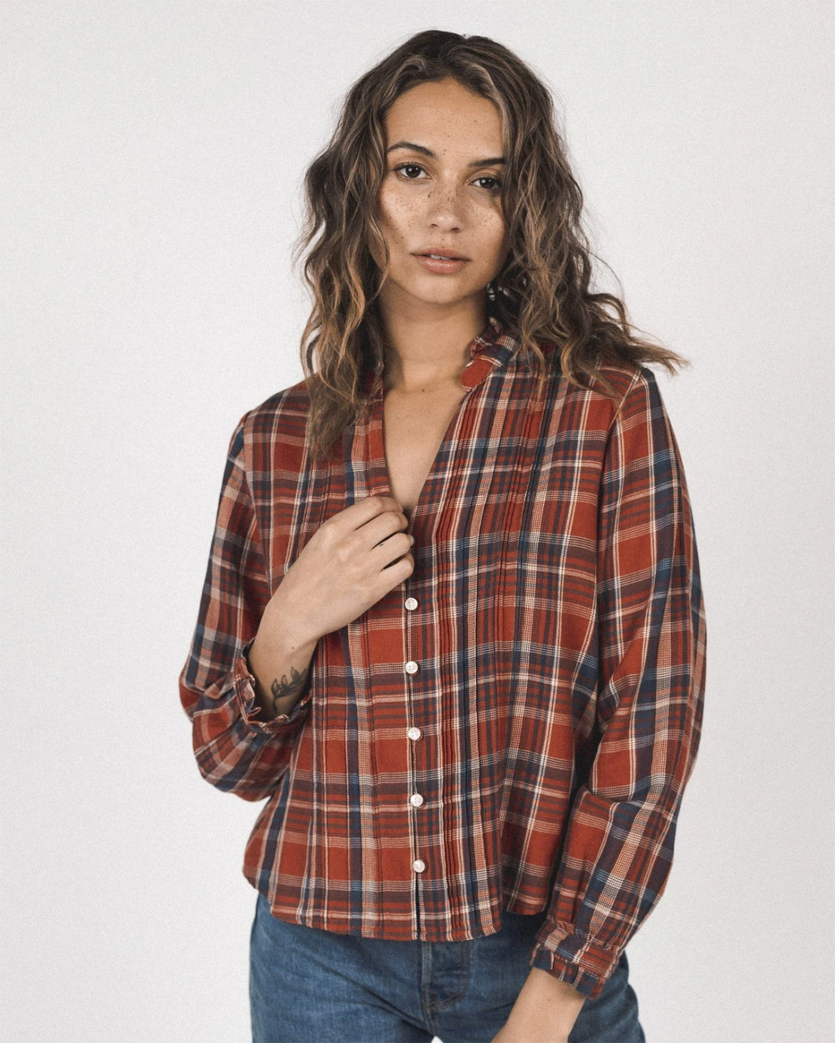Trovata Birds of Paradis Clothing Finley Pintuck Blouse in Manzanita Plaid