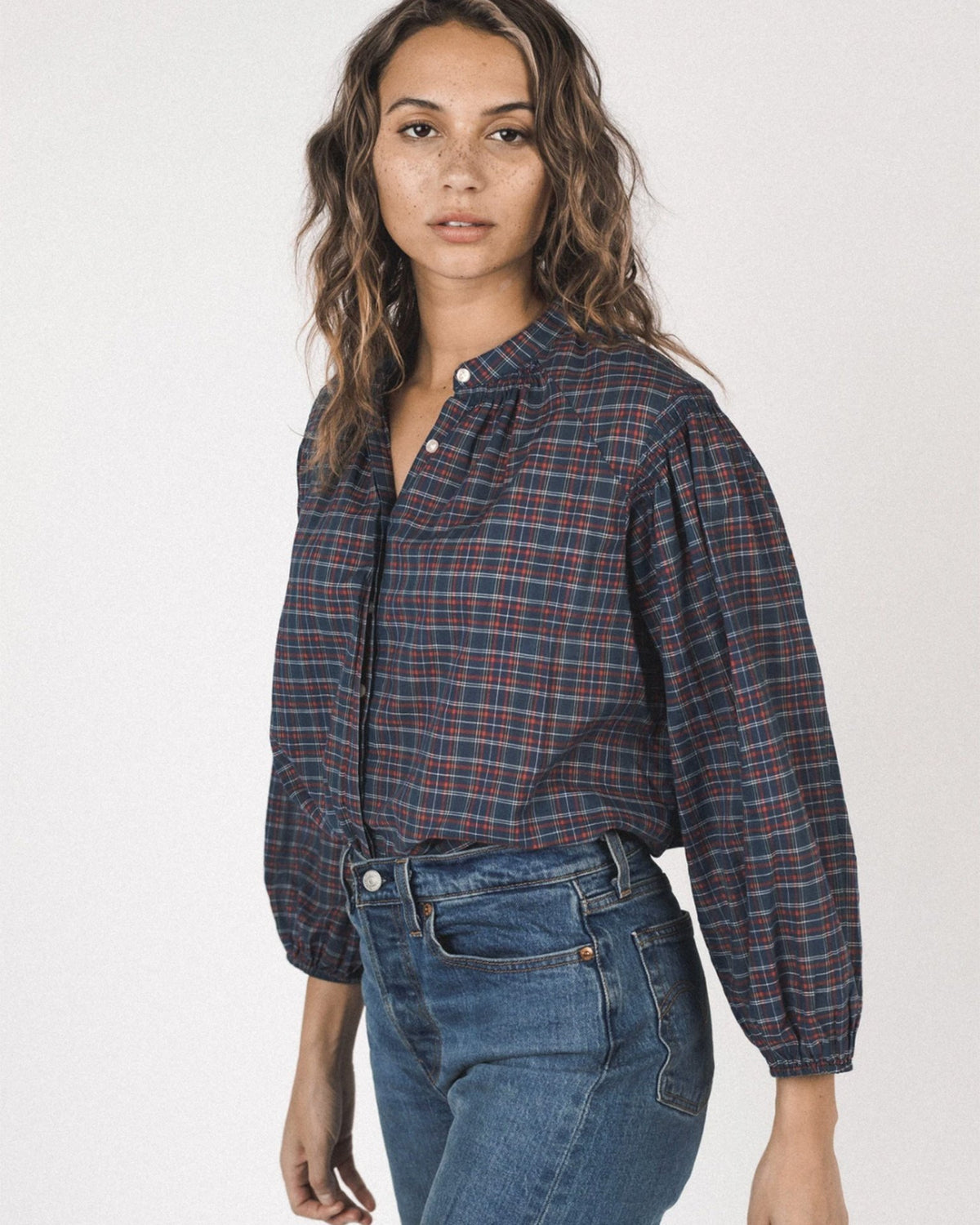 Trovata Birds of Paradis Clothing Karsyn Multi-Stitch Blouse in Heritage Plaid