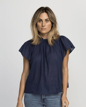 Trovata Clothing Navy / XS Carla High Neck Shirt in Navy