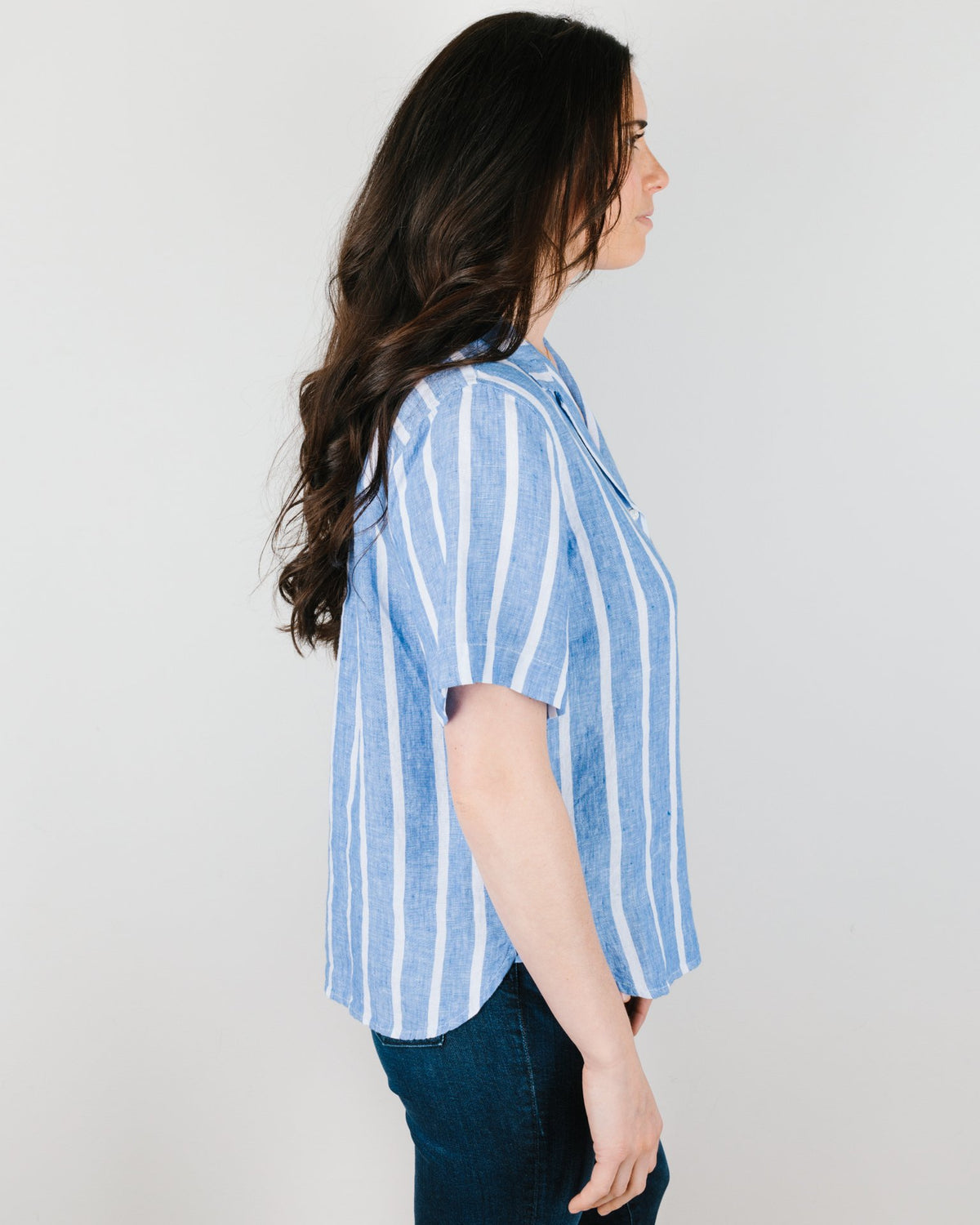 Trovata Clothing Margot Camp Shirt in Blue Awning Stripe