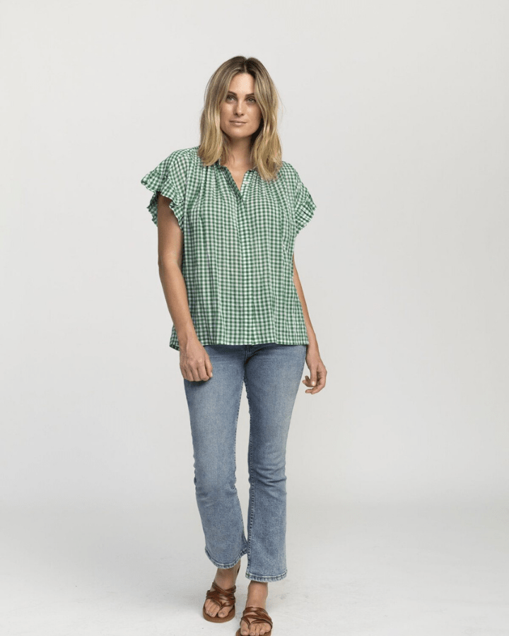 Trovata Clothing Marianne Ruffle Sleeve Shirt in Green Check