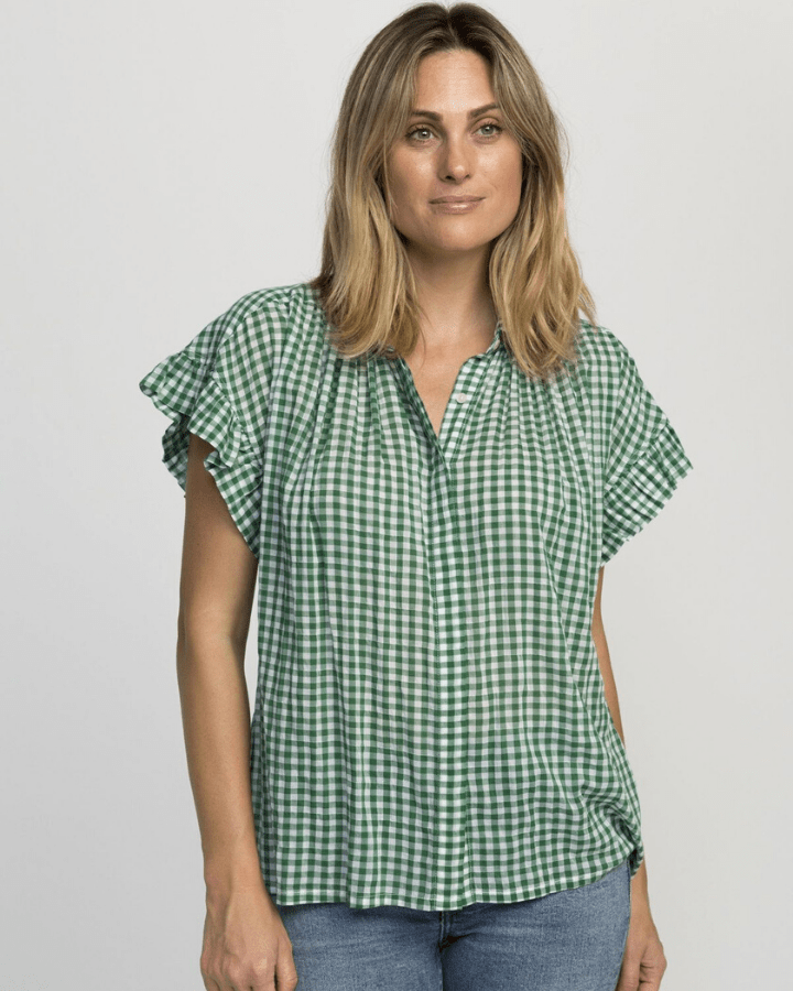 Trovata Clothing Green Check / XS Marianne Ruffle Sleeve Shirt in Green Check