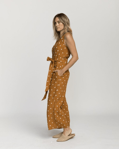 Trovata Clothing Rebecca Jumpsuit in Tobacco Dot