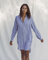Trovata Clothing Rowene Short Dress in Blue Awning Stripe