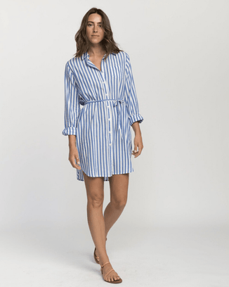 Trovata Clothing Rowene Short Dress in Blue Stripe