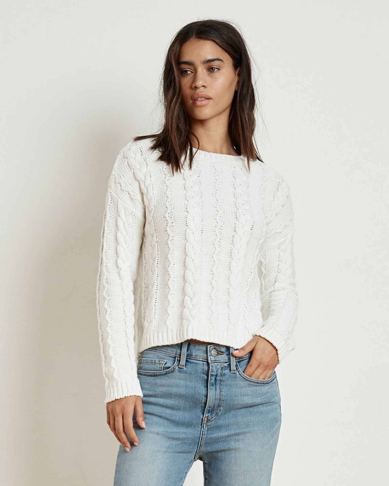 Velvet Clothing Milk / XS Arely Cotton Cable Sweater