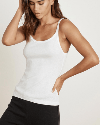 Velvet by Graham & Spencer Clothing White / XS Aliza Scoop Neck Tank in White