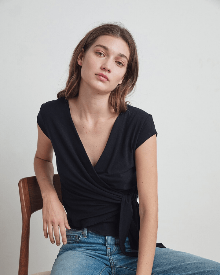 Velvet by Graham & Spencer Clothing Amika Wrap Top in Black