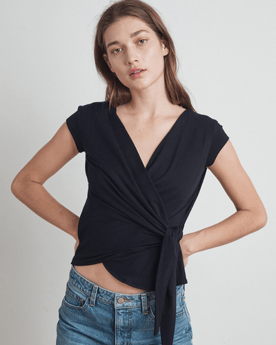 Velvet by Graham & Spencer Clothing Black / XS Amika Wrap Top in Black