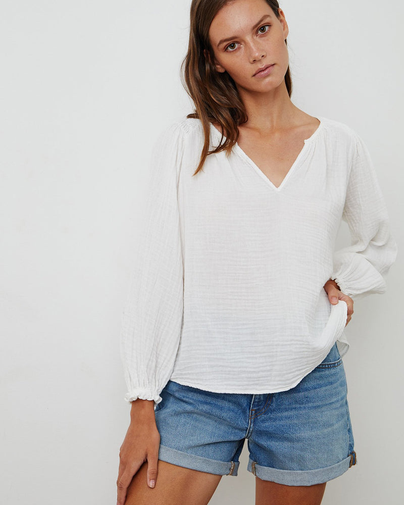 Velvet by Graham & Spencer Clothing Antonia Blouse in Ecru
