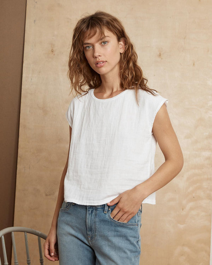 Velvet by Graham & Spencer Clothing White / XS Daniella S/S Crew Neck Top