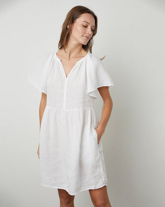 Velvet by Graham & Spencer Clothing Danielle Flutter Sleeve Dress in White