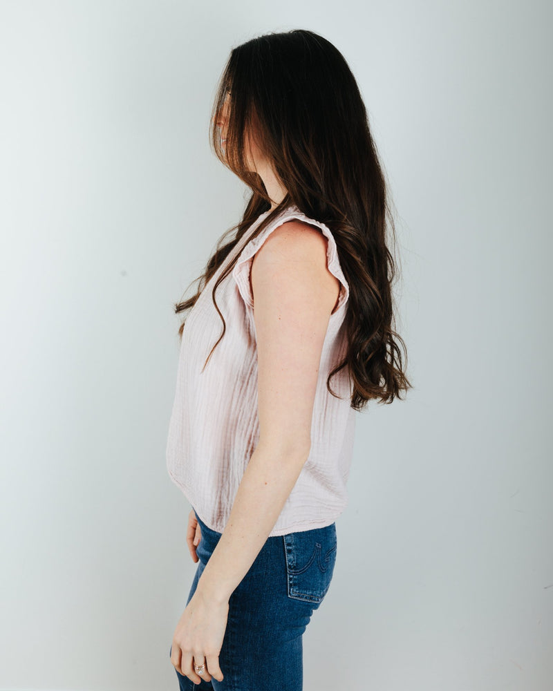 Velvet by Graham & Spencer Clothing Kaia Shirred Blouse in Peony