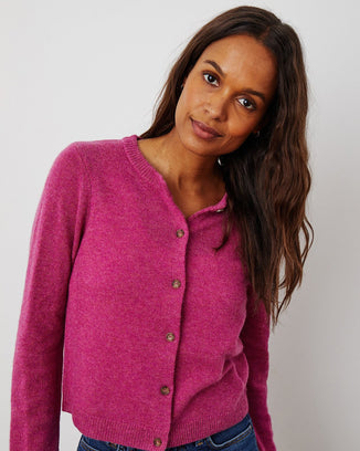 Velvet by Graham & Spencer Clothing Nani Button Cardi in Berry