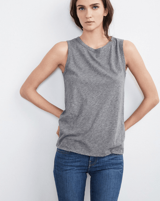 Velvet by Graham & Spencer Clothing Medium Heather Grey / XS Taurus Tank in Medium Heather Grey