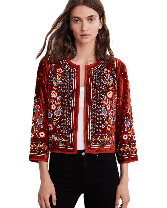 Velvet Clothing Red / S Nita Velvet Embroidered Jacket