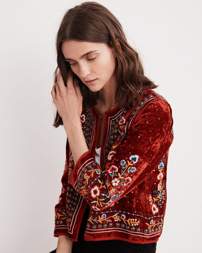 Velvet Clothing Red / XS Nita Velvet Embroidered Jacket