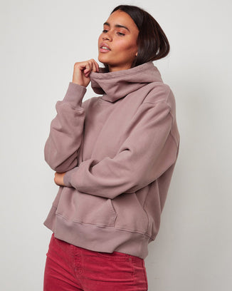 Velvet Clothing Ora Cowl Sweatshirt in Raisin