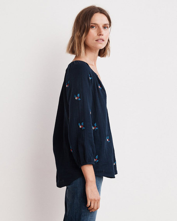 Velvet Clothing Navy / XS Selma Embroidered Top in Navy