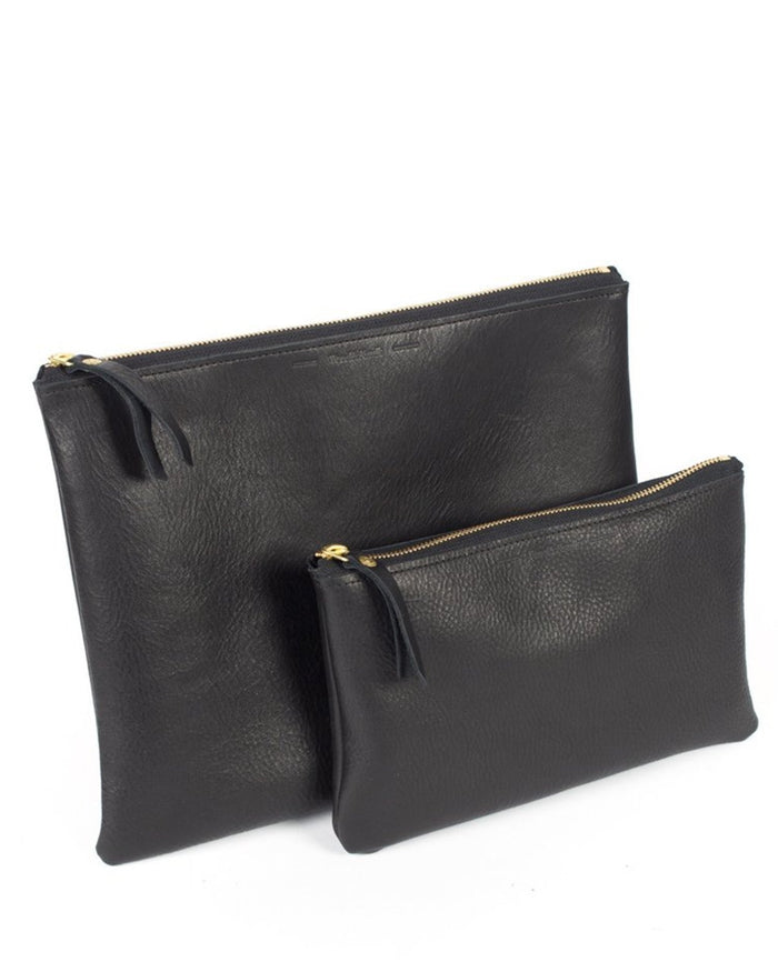 Wood & Faulk Accessories Black / O/S Leather Clutch