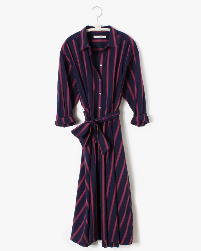 XiRENA Clothing Everr Dress in Navy Benton Stripe
