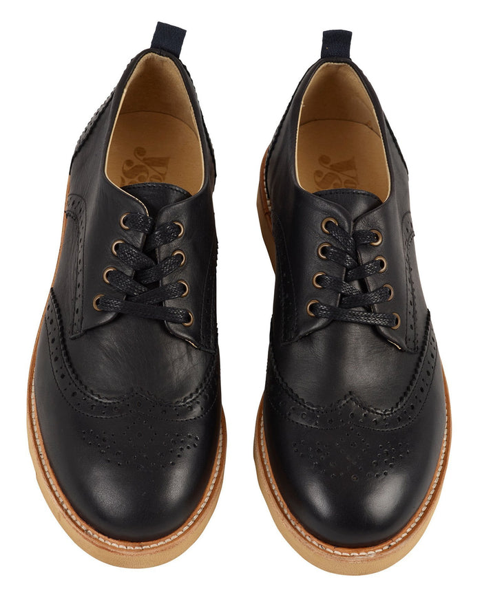 Young Soles Shoes Black / 36 Brogue Shoe in Black