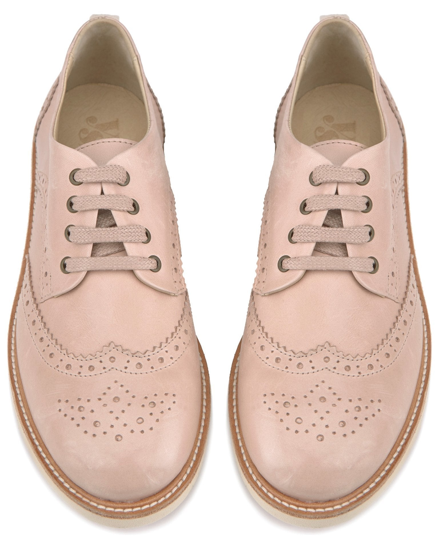 Young Soles Shoes Nude Pink / 36 Brogue Shoe in Nude Pink
