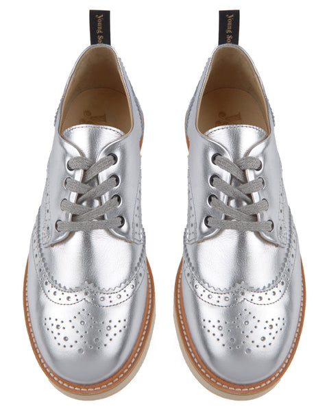Young Soles Shoes Silver / 36 Brogue Shoe in Silver