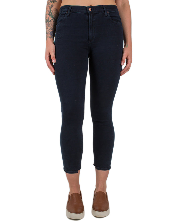 Rocket Crop High Rise Skinny in Blue Print