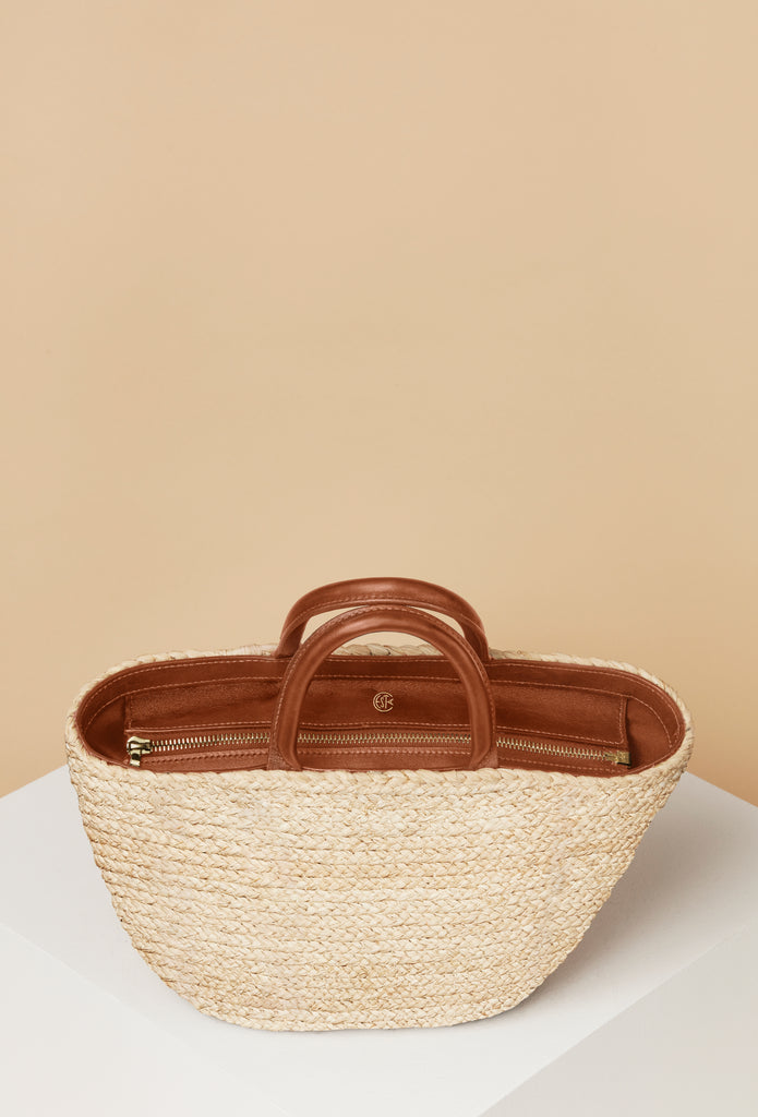 Top Handle Raffia Tote / Natural