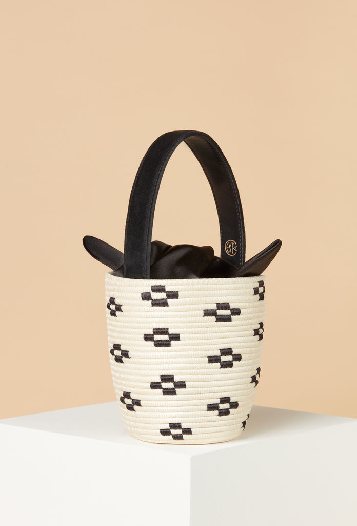 Natural/Black Floral Knot Party Pail