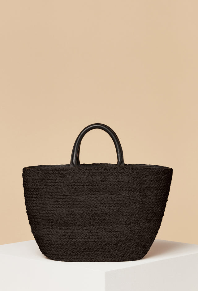 PRE-ORDER - Top Handle Raffia Tote / Black