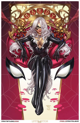 "Signed Spider-Man Black Cat Paolo Pantalena 11 x 17"" Art Print"