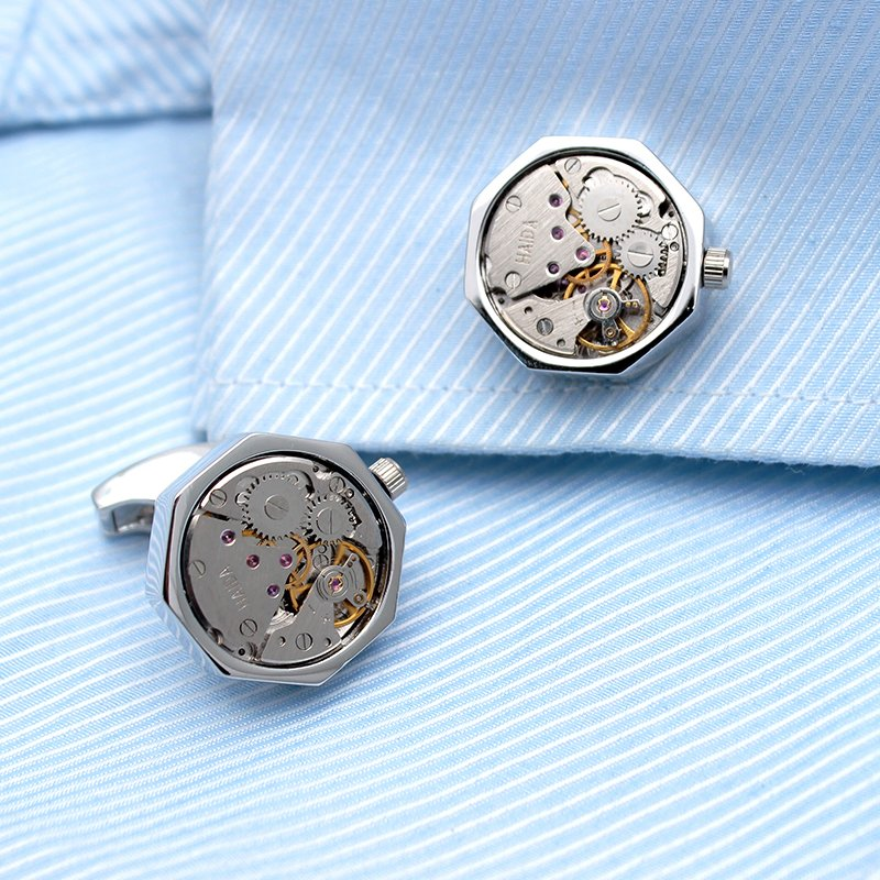 Octagonal Watch Engine Cufflinks