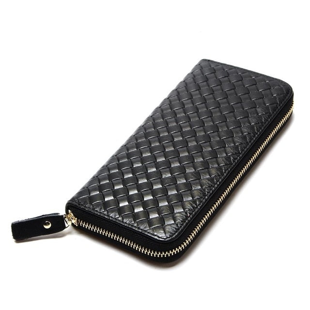 Genuine Leather Woven Wallet & Clutch Combo