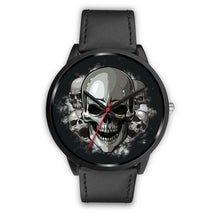 Load image into Gallery viewer, Black Cranial Watch-Black Watch-wc-fulfillment-Mens 40mm-Black Leather-SKULLZOPHRENIA