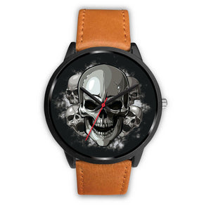 Black Cranial Watch-Black Watch-wc-fulfillment-Mens 40mm-Brown Leather-SKULLZOPHRENIA