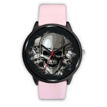 Load image into Gallery viewer, Black Cranial Watch-Black Watch-wc-fulfillment-Mens 40mm-Pink Leather-SKULLZOPHRENIA