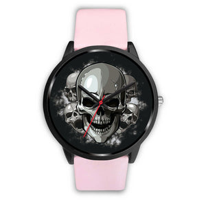 Black Cranial Watch-Black Watch-wc-fulfillment-Mens 40mm-Pink Leather-SKULLZOPHRENIA
