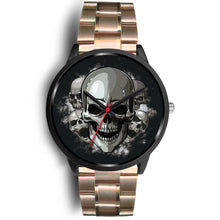 Load image into Gallery viewer, Black Cranial Watch-Black Watch-wc-fulfillment-Mens 40mm-Rose Gold Metal Link-SKULLZOPHRENIA