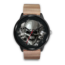Load image into Gallery viewer, Black Cranial Watch-Black Watch-wc-fulfillment-Mens 40mm-Rose Gold Metal Mesh-SKULLZOPHRENIA