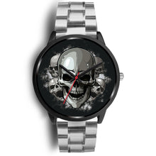 Load image into Gallery viewer, Black Cranial Watch-Black Watch-wc-fulfillment-Mens 40mm-Silver Metal Link-SKULLZOPHRENIA