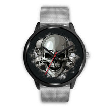 Load image into Gallery viewer, Black Cranial Watch-Black Watch-wc-fulfillment-Mens 40mm-Silver Metal Mesh-SKULLZOPHRENIA