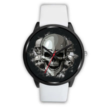 Load image into Gallery viewer, Black Cranial Watch-Black Watch-wc-fulfillment-Mens 40mm-White Leather-SKULLZOPHRENIA