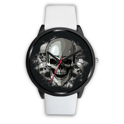 Black Cranial Watch-Black Watch-wc-fulfillment-Mens 40mm-White Leather-SKULLZOPHRENIA